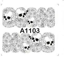 Nail Art Water Decals Full Wraps GREY Halloween Skulls Roses Gel Polish (A1103)