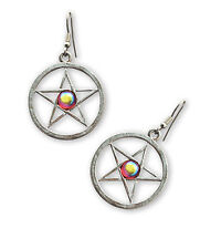 Red Aurora Borealis Cabochon #954Rab Gothic Pentacle Pewter Earrings with