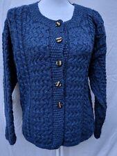 CARRAIG DONN Aran Vintage 100% New Pure Wool Cable Sweater Ireland Cardigan Blue