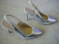 Ladies Silver Slim Heeled Wide Fit Slingback Sequin Shoes Size 7 from New Look