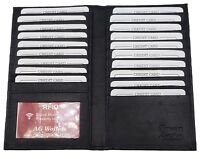 AG Wallets RFID Scan Proof Real Leather Credit Card Organizer Long Wallet Black