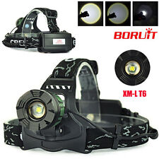 BORUiT Zoom 8000LM XM-L T6 LED Headlamp Headlight Head Light Flashlight 3 Modes