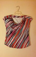 Womens Multi-Color Striped Short Sleeve Liz Claiborne Top. Size Small.