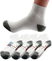 New Mens 6 Pairs Sports White Gray Ankle Quarter Crew Socks Cotton Size 10-13
