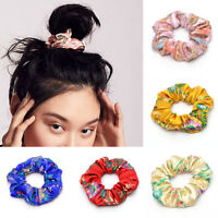 Elastic Women Girls Scrunchie Satin Silk Embroidered Brocade Hair Rope Headband