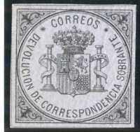 Sello de España 1875 172 Escudo de España sello de devolución nuevo