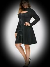 New Black Gothic Cut Out Bust Zip Front Sexy Hooded Dress size 4XL 26 28 30