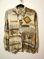 Vintage M L Crazy Pattern Yellow Shirt Geometric 60s 70s Blouse Medium Large 16