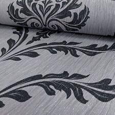 Glitter Crystal Damask Silver Black Pattern Wallpaper Motif Textured