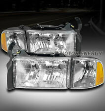 99-01 DODGE RAM 1500 SPORT HEADLIGHT W/CORNER TURN SIGNAL LAMP CHROME LEFT+RIGHT