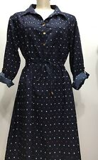 In Due Time Blue Polka Dots Foldable Long Sleeve W/belt Maternity Dress Sz Large