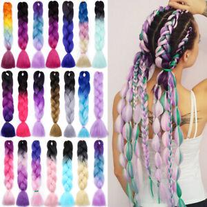 "DIY Braids Jumbo Hair Extension Long 24"" Jumbo Fake Braiding Hair Ombre Crochet"