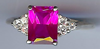VINTAGE STERLING SILVER CLEAR RHINESTONE & FACETED PINK GEMSTONE RING