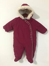 Koala Baby Hooded Bunting Snowsuit Dark Red w/Floral & Faux Fur Trim Size 6-9M