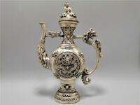 "9.06""Exquisite Chinese copper silvering Handmade carving Dragon Teapot wine pot"