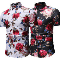 Men Hawaiian Short Sleeve Floral Casual Dress Shirts Summer Beach Slim T-shirts