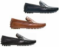 MENS BASE LONDON MORGAN TAN NAVY BLACK DRIVING LEATHER SHOES UK 7 -12