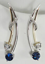 Sterling Silver 10K Yellow Gold Two Tone Earrings Sapphire .05 CTW Diamond