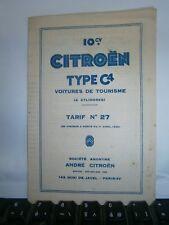 Catalogue  pub auto tarif Citröen voiture 10 ch type C4 de tourisme an 1930