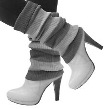 Women Crochet Knit Leg Warmers Striped High Calf Winter Boots Warmer Toppers