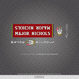 0564 Major Nichols Bicycle Frame Stickers - Decals - Transfers