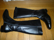 FRATELLI ROSSETTI GLOSTER Black Pebble Grain Leather Knee High Boots, 41, $730!