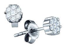 Da Uomo/ Donna Finitura in Oro Bianco Rotondo Diamante a Grappolo Orecchini