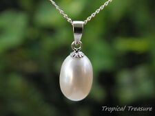 White Pearl Pendant & 40cm 925 SOLID Sterling Silver necklace