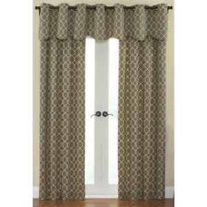 "Chippendale Mocha Window Curtain Rod Pocket PANEL Lattice Golden Brown 42 x 84"""