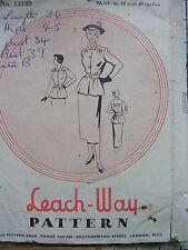 Leach-WAY Sewing Pattern 5645 40 S 1950 S VINTAGE GONNA GIACCA VESTITO maniche cintura