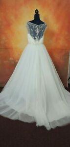 NEW Hilary Morgan Wedding dress with illusion back size 16
