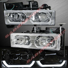 Set of Euro Clear Headlights w/ LED Bar for 1988-1999 GMC Chevy C/K Full Size