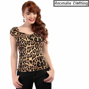 Collectif Dolores Top in Feral Leopard Print - 1950s Vintage Inspired Rockabilly