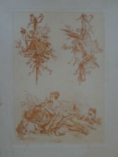 J-B. HUET (1745-1811) BELLE GRAVURE SANGUINE ALLÉGORIE PASTORALE MUSIQUE CHASSE