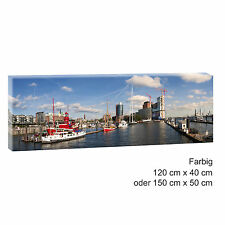 Hamburg Hafen Panorama Bild Keilrahmen Leinwand Poster XXL 120 cm*40 cm 492