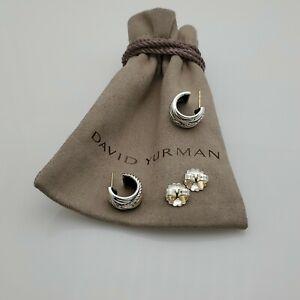 David Yurman Sterling Silver Crossover Cable Hoop Earrings
