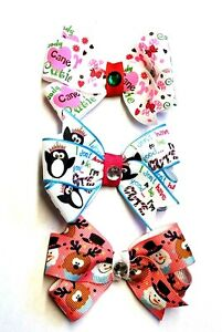 CHRISTMAS LOT OF 3 - Girl Hair Bows with Non Slip Clips - Handmade