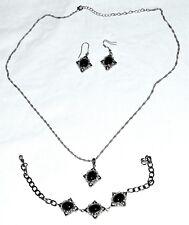 """Pendant w/ 22"""" Chain & Drop Earrings 3 Pc Set Black Glass w/ Rhinestone Bracelet"""