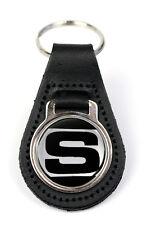 Triumph 2500 'S' Logo Quality Black Leather Keyring