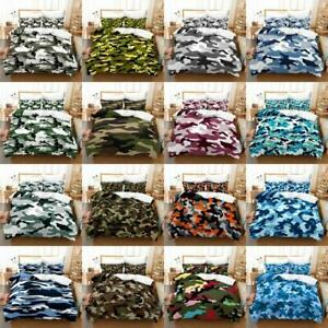 Bed Set Combat Army Camouflage Quilt Duvet Cover Pillowcase Single Double Size