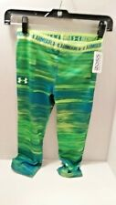 Under Armour HeatGear Girls Capri Leggings MEDIUM Awesome neon green and blue!!!