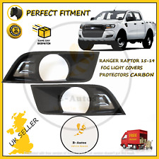 FITS FORD RANGER RAPTOR 15-19 FOG LIGHT COVERS PROTECTORS CARBON BLACK PAIR