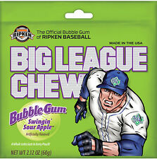 Six Packs Big League Chew Swingin' Sour Apple Shredded Bubble Gum FREE SHIPPING