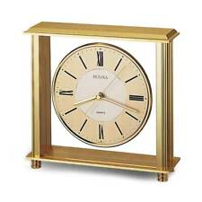 Bulova Desk Clock Grand Prix Gold Tone Dial Quartz Antique Brass Finish B1700