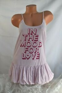 VICTORIA'S SECRET (S) Camisole Sleepwear PINK WHITE Bubble Hem LOVE Graphics Top