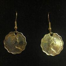 ORIGINAL HANDMADE HONG KONG 20 CENT 1970S  COIN EARRINGS !
