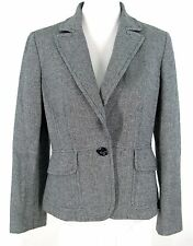 Ann Taylor Blazer Sz 4 Womens Black White Check Wool Blend Tweed Jacket