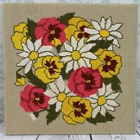 PANSIES & DAISIES Finished Needlepoint Vtg Mod Retro Mid Century Bright Colors