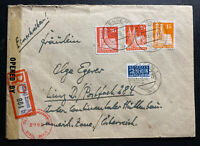 1948 Essen Germany AMG Censored Registered Cover To Linz Tax Stamp