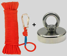 Upto 2000Lb Fishing Magnet Kit (Neodymium) Rope, Carabiner, Threadlocker, Gloves